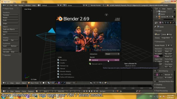 Launch Blender 2.69 and import your model file.