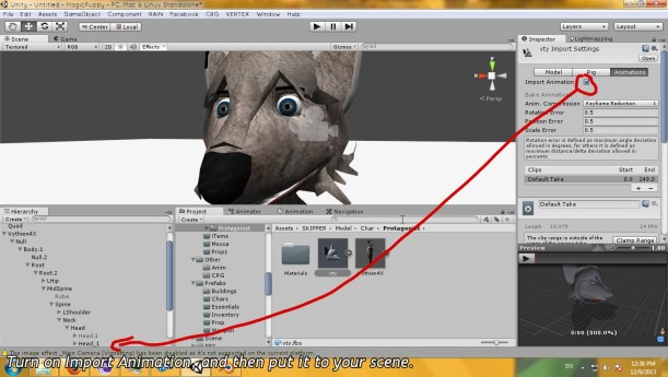 Import your Exported model to Unity. Unity refuse to read your model? Export it to FBX. Basically, you don't need to adjust everything above. Check if Import Animation is turned on. and then Put it to your scene