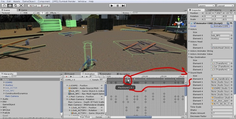 Here's a sample to play sound. All animation event controlled by ANIMATOR CORE.